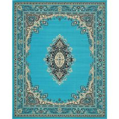 8' x 10' Mashad Design Rug (£105) ❤ liked on Polyvore featuring home and rugs