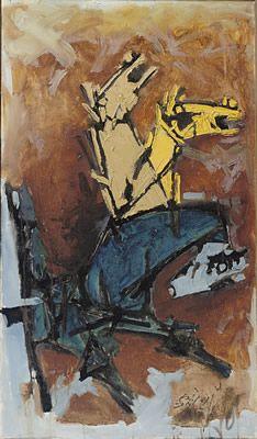 M.F.Husain: UNTITLED (Horses), 1970s