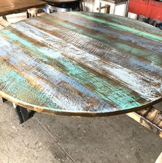 Weathered Wood Stain, Reclaimed Wood Table Top, Rustic Wood, Refinish Table Top, Refinished Table, 36 Round Dining Table, A Table, Dining Area, Painted Table Tops