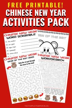 Free Printable Chinese New Year Activities Pack | Word Puzzles & More!