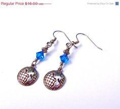 ON SALE Globe earrings  silver world by sparklecityjewelry on Etsy