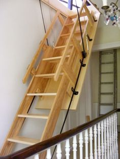 wooden stairs design for small spaces - To Create Staircase Design For Small Spaces Folding Attic Stairs, Attic Ladder, Attic Loft, Attic Rooms, Attic Spaces, Loft Ladders, Garage Attic, Attic Office, Attic Playroom