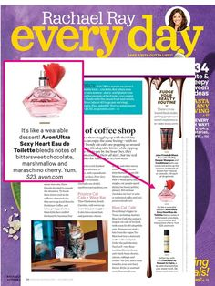 """@rachaelraymag featured our Avon Ultra Sexy Heart fragrance in their """"Fudge Your Beauty Routine"""" story for its marshmallow and chocolately notes creating a dessert scented fragrance."""