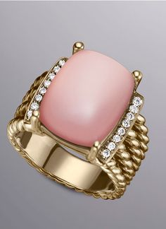 David Yurman pink chalcedony, diamonds