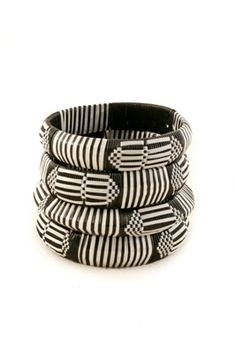 Set of Four Black & White Recycled Plastic Bangle Bracelets | AFRICAN JEWELRY