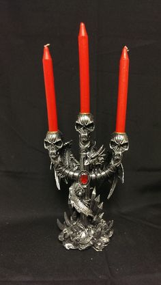 """HD23735-10 12.5"""" Dragon With Skull Candle Holder"""