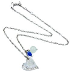AN0016 - Rhodium plated necklace with heart and bead charms  www.annabellewalker.com