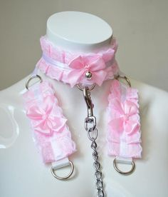 Kitten play collar leash and cuffs  Candy floss babe  bdsm