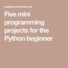 Five mini programming projects for the Python beginner