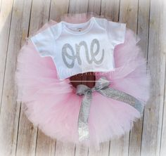 Silver First Birthday Tutu outfit, Pink and Silver, First Birthday outfit, 1st Birthday photo shoot, Cake Smash, Glitter Tee, Sparkle Bodysuit / onesie