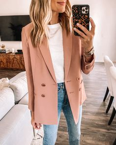 Fashion Tips 2019 work outfits summer work outfit spring work outfit blazer outfit.Fashion Tips 2019 work outfits summer work outfit spring work outfit blazer outfit Outfit Jeans, Rosa Blazer Outfits, Jeans Outfit Summer, Jean Outfits, Boho Outfits, Fashion Outfits, Casual Outfits, Blazer And Jeans Outfit Women, Dress With Blazer