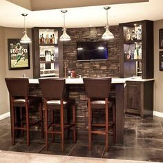 love faux stone on a basement bar. classy elegant and easy DIY installation. Large panels are so easy to attach to wall or bar. Even have columns that look awesome in basement remodel