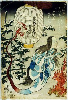 Ghost from a lamp, 1831 by Utagawa Kunisada