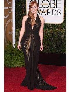 Jessica pulls a rabbit out of the Sunday hat.  And it's bronze.  And beautiful.   Golden Globes 2015: Jessica Chastain http://www.peoplestylewatch.com/people/stylewatch/package/article/0,,20881790_20890932,00.html