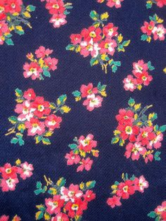 1970 s Navy With Pink Posies Fabric