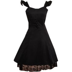 Partiss Women's Classic Black Straps Neck Cotton Lolita Jumper Skirt ($60) ❤ liked on Polyvore featuring tops