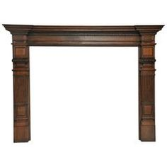 """Monumental 19th Century English Fireplace Mantel. Over sized oak mantel in the tudor style. Shapely top surface above stepped molding with dental detail, supported on legs with square fluted tapering corinthian columns. The size of this mantel does not show in the picture, it will truly be the focal point of any room. (84""""H, 110""""W, 12""""D)"""