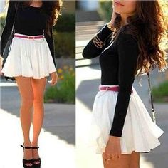 long sleeved top with a skirt