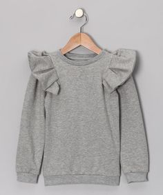 Take a look at this Gray Ruffle Sweatshirt - Infant, Toddler & Girls by The Brand on #zulily today!
