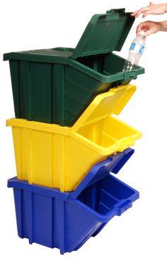 Contenedores de Reciclaje 45 litros con tapa, disponible en 3 colores, ahora en Chile