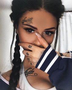Girl tattoos, girl face tattoo, face tats, tatoos, small face t Small Face Tattoos, Face Tats, Face Tattoos For Women, Tattoo Small, Tattoo Girls, Girl Face Tattoo, Girl Tattoos, Tatoos, Diy Tattoo