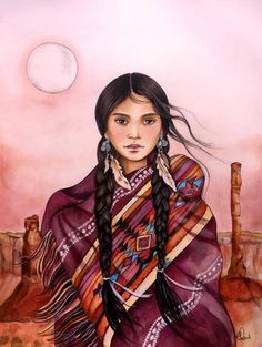 'Navajo inspired woman' by Claudia Tremblay - This print is from my original watercolor. Native American Women, American Indian Art, Native American Indians, Arte Latina, Claudia Tremblay, Native American Paintings, Native American Drawing, Navajo Art, Southwest Art