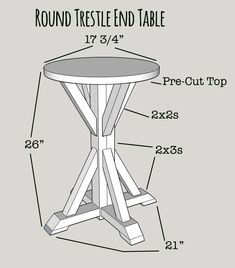 Rachel of Shades of Blue Interiors shows you how to build this useful round trestle end table. She says she did it for about $10 and in a couple of hours. || @shadesofblueint #endtableplans
