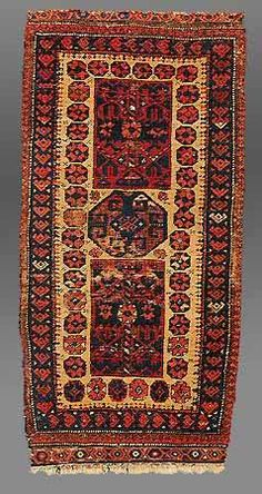 """Khorasan Baluch balisht, northeast Persia, after 1870. Camel wool, traces of synthetic dye, 0.41 x 0.86m (1'4″ x 2'10""""). The well-drawn design in the rectangular panels is akin to a Turkmen prototype"""