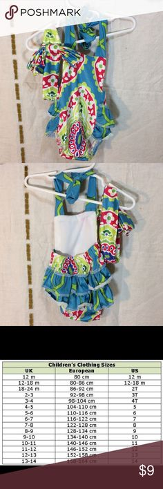 c4f6c18678fa sale Colorful swim Romper and head band nwot Polyester and nylon (bathing  suit material) swim Romper with matching headband. Please see chart for size  ...