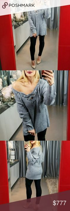 LIGHT GRAY LACE UP DETAILED SWEATER Brand new Boutique item Price is firm Bundle to save  Fabulous heather gray knit oversized sweater featuring popular lace-up neckline. Absolutely perfect color & style for the season. Make this sweater a staple for your fall/ winter wardrobe! Pair with our jeans or a pair of our fleeced lined leggings . Sweaters V-Necks