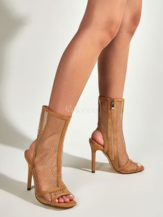 Women's Khaki Boots Sandals Peep Toe Micro Suede Mesh Upper Zipper Stiletto Heel Sandals - Milanoo.com Summer Boots Outfit, Peeps, Stiletto Heels, Peep Toe, Sandals, Mesh, Zipper, Shoes, Fashion
