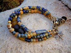 Lapis and Aragonite Bracelet / Bohemian Bracelet / Trade Beads / Gypsy Bracelet / Boho / Energy Jewelry / Indonesian Glass Beads / Yoga via Etsy