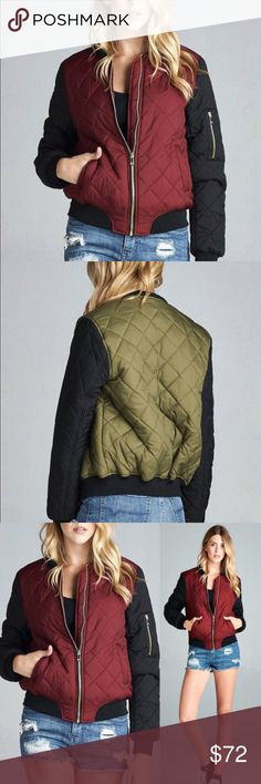 Warm And Cozy Olive Green Color Bomber Jacket! Pair this fab black & olive green colored bomber jacket with your favorite pair of jeans and heels. Features black trim at the collar, waist, and sleeves, zipped pockets on the sleeves, and has quilted stitching. It is completely lined and ready for your closet. Sizes are true to fit: Small (Fits 2 -4), Medium (Fits 6 - 8), Large (Fits 10 - 12) Jackets & Coats