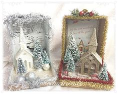 Shabby and so chic Christmas dioramas/shadow boxes by Rosechicfriends on Etsy Vintage Christmas Crafts, Victorian Christmas, Christmas Projects, Handmade Christmas, Holiday Crafts, Christmas Scenes, Christmas Holidays, Christmas Cards, Christmas Decorations