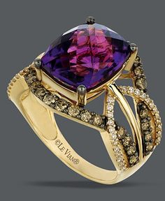 Le Vian Amethyst (4-5/8 ct. t.w.) and White and Chocolate Diamond (9/10 ct. t.w.) Ring in 14k Gold - Rings - Jewelry & Watches - Macy's