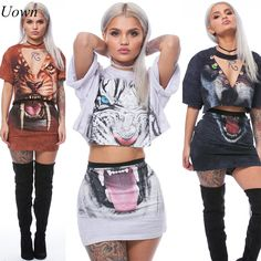 8e8c53f22e Uown summer women casual two pieces tops and skirt sets 2017 hot sale women  loose sexy leopard short skirt suit printing sets