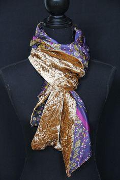 Silk creased velvet & satin scarf with beads. See more on www.etsy.com/shop/SlinkySilk