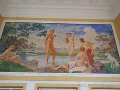 Gemälde über dem Eingang des Thermalbads in Bad Vöslau. Bad Vöslau, Painting, Country, Entryway, Painting Art, Paintings, Paint, Draw