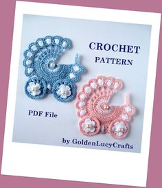 Baby Stroller Applique Crochet PATTERN PDF, Carriage, buggy, pram