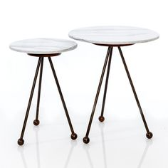 White marble topped tables called ORBIT by UK design company On-Entropy Marble Top, White Marble, Round Side Table, Family Room, Dining, Interior Design, Inspiration, Furniture, Home Decor