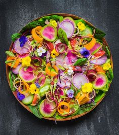 This Rainbow Radish and Edible Flower Salad with Blood Orange Vinaigrette recipe is featured in the Radishes along with many Orange Vinaigrette Recipes, Watermelon Radish, Radish Salad, Rainbow Salad, Salad Recipes, Healthy Recipes, Healthy Foods, Flower Food, Edible Flowers