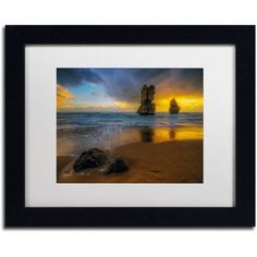 Trademark Fine Art Beach at Sunset Canvas Art by Lincoln Harrison, White Matte, Black Frame, Size: 16 x 20