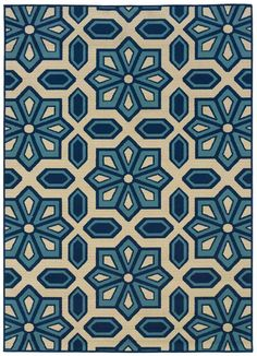 Add elegance to any room with a Oriental Weavers Caspian Crystal rug - perfect for any living space. The machine-made rug has a pattern that is created in simple shades of blue and black, with a beige trim in the design of a link bracelet. Motif Arabesque, Motif Vintage, Coastal Rugs, Synthetic Rugs, 3d Laser, Indoor Outdoor Area Rugs, Outdoor Spaces, Outdoor Living, Contemporary Rugs