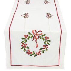Xia Home Fashions Country Wreath Embroidered Hemstitch Holiday Table Runner Size: Dining Table Runners, Table Runner Size, Table Runner And Placemats, Table Runner Pattern, Quilted Table Runners, Paisley Quilt, Vinyl Tablecloth, Tablecloths, Christmas Runner