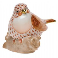 Herend Hand Painted Porcelain Figurine Little Bird 3 in Rust Fishnet with Gold Accents.