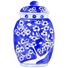 Ginger Jar in Indigo Print by driftwoodinteriors Antique Bottles, Vintage Bottles, Vintage Perfume, Antique Glass, Blue Pottery, Pottery Clay, Indigo Prints, Stencil Painting, Jar Painting