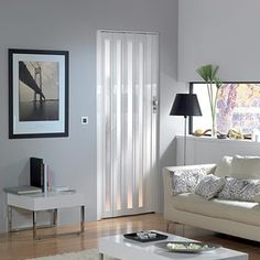 Porte accordéon vitrée Grosfillex 'Larya' PVC blanc 205 x 84 cm   Plan-it Pvc, Decoration, Sweet Home, House Design, Curtains, Creativity, Home Decor, Diy Ideas For Home, Home Decoration