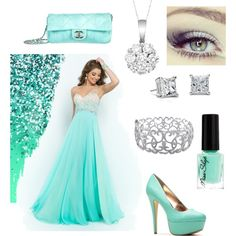 Oh my Prom! by ninastylez on Polyvore featuring polyvore fashion style Blush Prom Chanel Ice Blue Nile Allurez Revlon