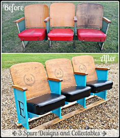 Vintage theater seats from an old theater in Yoakum Texas. Follow us for more wonderful pins at www.pinterest.com/3spurzdandc/... www.facebook.com/... www.3spurzdesignsandcollectables.com/...