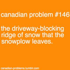 "I believe Minnesota, Wisconsin, And Michigan are honorary members of Canada haha ""Canadian Problem And just when you get it all cleaned up and go back inside, the plow comes by and blocks you in again!"